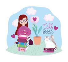 brunette meisje buitenshuis met boeken en een kat