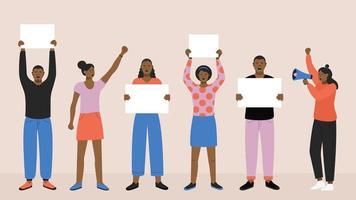 protesterende zwarte mensen met spandoeken