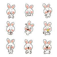 schattig grappig konijntje doodle set vector