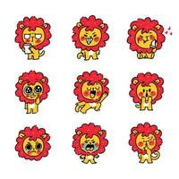 kleine leeuw cub mascotte tekenset vector