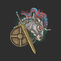 eenhoorn ridder met zwaard en schild