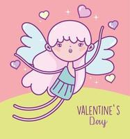 Valentijnsdag kaart met engel meisje vliegen