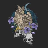 uil met paarse bloemen die schedels vasthouden