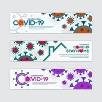 coronavirus covid-19 banner set vector