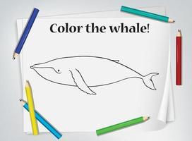 walvis kleurend werkblad voor kinderen vector