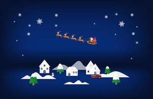 papierkunst kerstman en rendieren vliegen over huizen