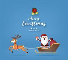 Kerstman en rendieren met tekst op blauw