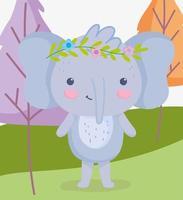 schattige olifant permanent buiten vector