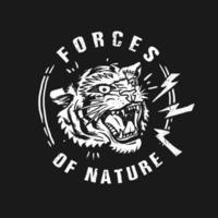 tijger krachten van de natuur t-shirt design vector
