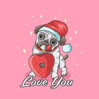 Santa pug met hart donut