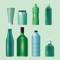 set van groene, blauwe materialen en stijlen flessen producten iconen