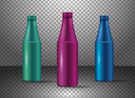 set van verschillende glazen kleur flessen producten