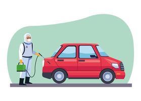 bioveiligheidsarbeider desinfecteert auto covid-19