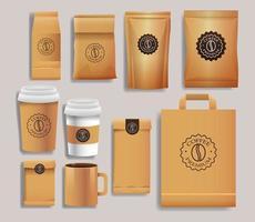 set van gouden elegante koffie verpakkingen producten vector