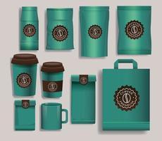 set van groene elegante koffie verpakkingsproducten vector