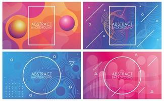 levendige kleuren en vloeistoffen set van abstracte achtergronden