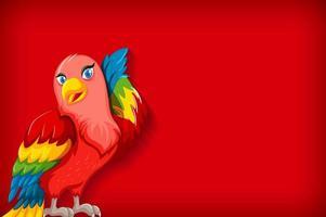 achtergrond sjabloon met effen kleur en kleurrijke papegaai