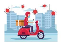 koerier in bezorgservice voor motorfietsen met covid-19 deeltjes