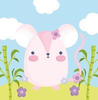 schattige roze muis buitenshuis
