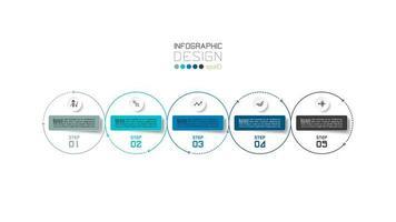 modern cirkeloverzicht 5 stappen bedrijfs infographic ontwerp vector