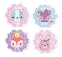 set van schattige stickers met baby dieren vector