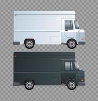 bestelwagens zwart-wit branding geïsoleerde pictogrammen
