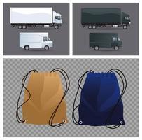 trekkoord verpakt mockup-producten en transportvoertuigen vector
