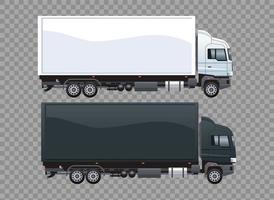 vrachtwagens wit en zwart merk geïsoleerd pictogram