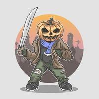 Halloween pompoen hoofd mascotte met machete vector