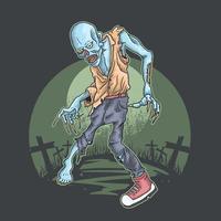 halloween zombie stijgen van kerkhof vector