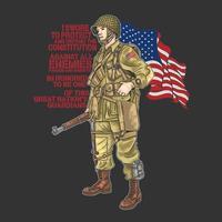 Amerikaanse Wereldoorlog soldaat met vlag en offerte