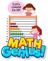 lettertype ontwerp voor wiskunde genie met twee meisjes tellen