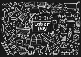 dag van de arbeid doodle set vector