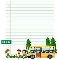papieren sjabloon met kinderen en schoolbus