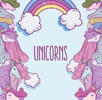 fantasie eenhoorns kijken naar elkaar met regenboog