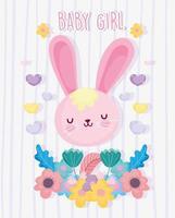 schattig konijntje meisje met bloemen kaartsjabloon