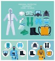 bioveiligheidsarbeiders met uitrustingselementen voor covid-19 bescherming
