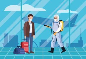 bioveiligheidsarbeider desinfecterende passagier op luchthaven voor covid-19 vector