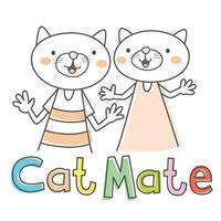 cartoon kat mate vector
