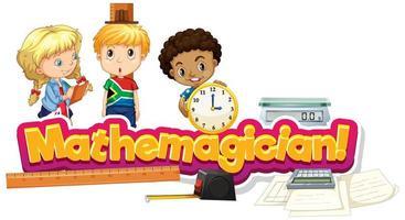 lettertype ontwerp voor woord wiskundige met kinderen vector