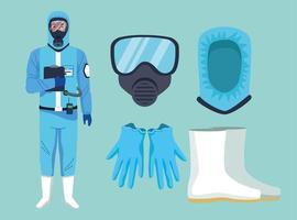 bioveiligheidswerker met uitrustingselementen voor covid-19 bescherming