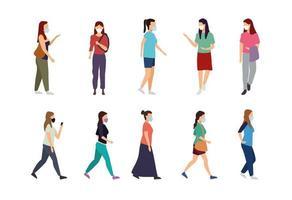 aantal vrouwen het dragen van medische gezichtsmaskers vector