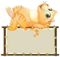 bordsjabloon met schattige kat vector