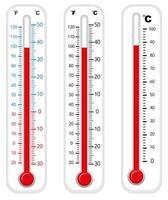 thermometers met verschillende graden vector