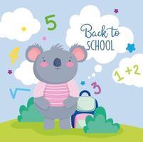 schattige koala terug naar school kaartsjabloon