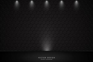 metalen studio achtergrond met spotlight en polygoon muur textuur vector