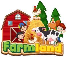 landbouwgrond met gelukkige kinderen en dieren