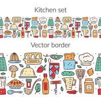 hand getekende kleurrijke keuken eten en items naadloze grens vector