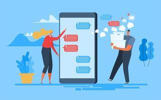 vrouw verzendt tekst mobiele apps vector