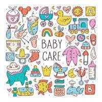 babyverzorging schattige hand getrokken doodle items set
